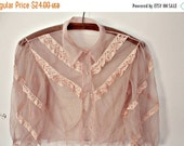 30sale baby pink vintage lace sheer blouse. 1950s. silky.