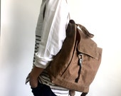 Sale 25% - Waxed canvas backpack in HONEY BROWN , school bag ,leather Satchel Rucksack, Messenger Laptop bag Tote,unisex school bag / Tanya
