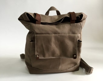 Back to school SALE 25%  -// Allison in Taupe brown Backpack / Satchel Rucksack / Laptop bag  / Tote / Women / Unisex / Gift for her him