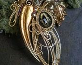 Gothic Steampunk Gold Galaxy Eye Pin Pendant