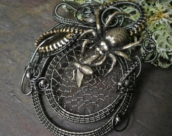 Gothic Steampunk Pin Pendant Brooch Spider and the Fly