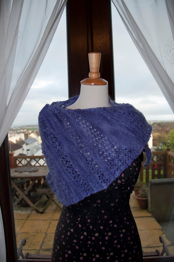 Handknitted Shawl/Wrap in Shades of Purple