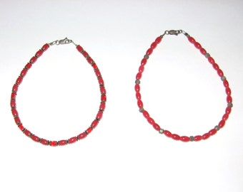 Beautiful Red Jade Glass Beaded Anklets, Pair