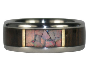 Red Opal Window Ring with Blackwood