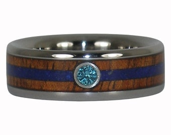 Blue Diamond Wedding Band and Lapis and Koa Wood Ring
