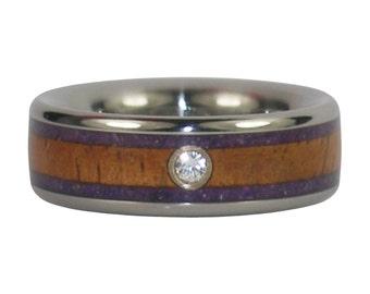 Purple Sugilite and Koa Wood Diamond Ring