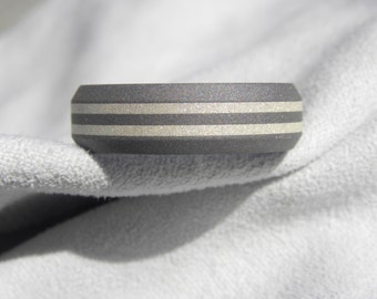 Titanium Ring or Wedding Band, Beveled Edges, Solid Sterling Silver Inlay Stripes, Sandblasted