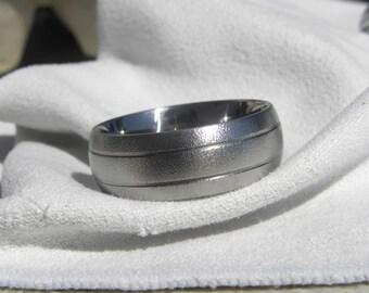 Titanium Ring, Wedding Band, Burnished, Groove Ring, 10mm size 13.5