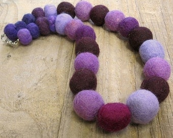 Felt Beads Necklace - Purple One-of-a-kind Chunky Fabric Necklace