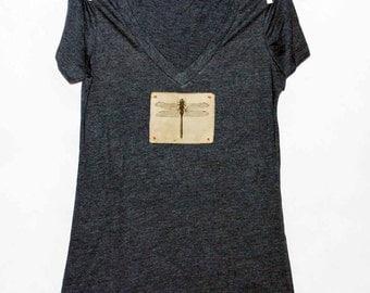 Dragonfly Women's Tshirt, Print Tshirt, Vneck Tshirt, Appliqued Tshirt, Insect Tshirt, Nature Tshirt,  Vintage Style Tshirt