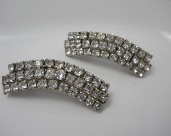 Barrettes Bridal Rhinestone 1940's Era Glass Rhinestone Upcylced Repurposed Shoe Clips on Authentic French Barrettes OOAK Unique Bridal
