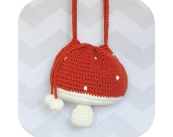 Adorable Mori Girl Mushroom Toadstool Drawstring Crossbody Bag - PDF crochet pattern - INSTANT DOWNLOAD