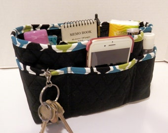 "Purse Organizer Insert/4"" Depth Enclosed Bottom/Quilted/ Black"