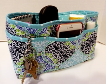 Quilted Purse Organizer Insert With Enclosed Bottom Large - Blue Print