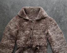 Vintage Hand Knit Cardigan Sweater,  Marled Wool Sweater,  Women's Clothing, Winter Fashion
