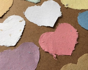 10 hearts 4.75x3.5 inch, handmade paper, recycled paper, eco friendly paper, paper hearts, rustic valentine, textured hearts, homemade paper