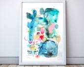 Abstract painting on paper , Original mixed media art , Gold, Contemporary Modern Art - A3   11.7 x 16.5 inches
