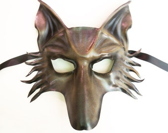 Wolf Leather Mask dog shepherd in a mix of grey brown and black