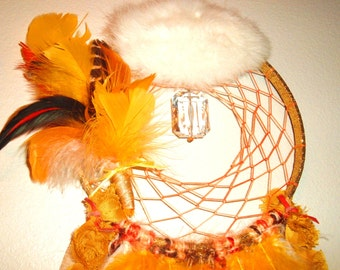 SALE Bohemian, Gypsy, Hippie Dream Catcher, Rabbit Fur, Large Lucite Crystal, Feathers, Wall Decor, OOAK, Protective