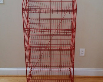 Vintage Store Fixture Folding Red Rack Display