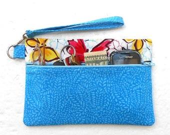 Blue Wristlet Clutch, Butterfly Print Purse, Cell Phone Wristlet, Front Zippered Wallet, Small Purse, Makeup or Camera Bag, Small Zipper Bag