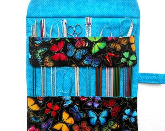 Butterflies Knitting Needle Holder, Black Blue Crochet Hook Organizer, Double Pointed Needle DPN Case, Artist and Makeup Brushes Storage