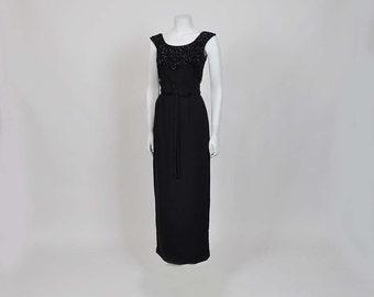 vintage 50s dress / Vintage 50's Black Sequin Cocktail Party Dress
