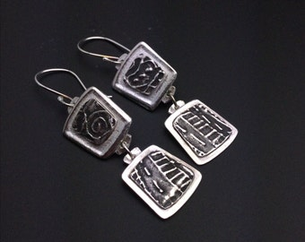 Earrings, silver, tribal, artisan, handmade, Smaller Dangle earrings
