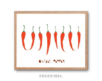 Chilli Pepper Art print, Botanical illustration, Botanical print, Vegetable print, Fruit Print,Kitchen Art,home decor, wall art
