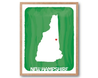 NEW HAMPSHIRE MAP - Green - State map, Personalized Wedding Gift, Custom map, Watercolor, Typography, Drawing, home decor