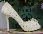 Lacy Wedding Shoes .. Ivory or White Lace Shoes .. Bridal High Heels... Crystal and Pearl Adornments .
