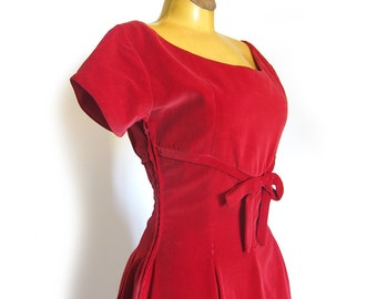 Red Velvet Holiday Dress Empire Waist Dress with Full Skirt Scoop Neckline Rockabilly Party Dress
