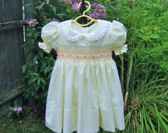 Baby girl, hand smocked, yellow dress, size 12 Mo. toddler dress, ready to ship, heirloom dress, party dress, baby gift, birthday, wedding