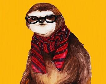 Hipster Sloth Print