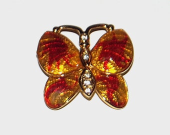 1980s vintage pin / 80s vintage brooch / rhinestone / Flutter Away Butterfly Brooch