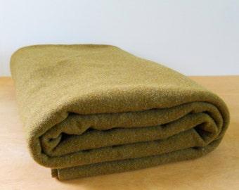 Vintage Green Wool Army Blanket • Vintage Military Bedding • Vintage Wool Olive Green Blanket
