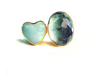 Green Amethyst and a Aventurine heart Ring