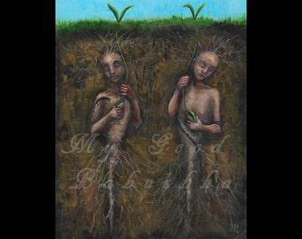 Guarding the Seeds, Original Painting, Spring, Rebirth, Death, Folk Art, Folk Tale, Fairy Tale,  Guardians, Earth, Fertility, Poland, Dead
