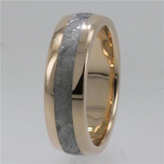meteorite wedding band 14k yellow gold ring mens by