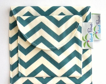 Back to School SALE Teal Chevron Sandwich and Snack Bags, Reusable, Organic Cotton, Eco Friendly - Set of 2 - Back to School