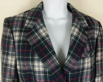 Vintage 70s Pendleton plaid wool jacket blazer size 12 chest 38in.
