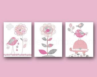 Girl's Room Decor pink and gray baby Nursery Art personalized - Baby Girl Flower Turtle Nursery Birds - Set of three prints