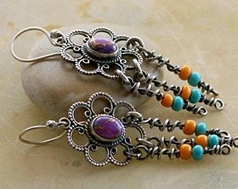Southwest Color Stones Sterling Silver Flower Style Fringe Earrings . Rustic Tribal Southwestern Wabi Sabi Organic Boho Jewelry
