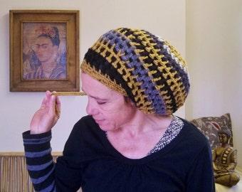 DREAD HAT Handmade Crochet Hat Wool Hat Rasta Hat Womens Hat Mens Hat Dreadlock Tam Dreads Slouch    *  BLacK MuSTarD *