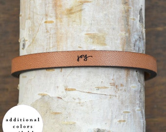 joy - adjustable leather bracelet  (additional colors available)