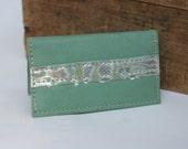 Seafoam Green Leather Business Card Holder OOAK By Binding Bee