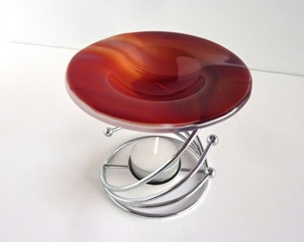 Red and White Fused Glass Wax Tart or Oil Warmer Replacement Bowl