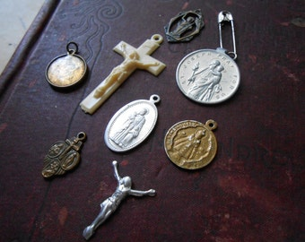 8 pieces silver, brass, plastic, aluminum religious medals charms - mixed jewelry lot