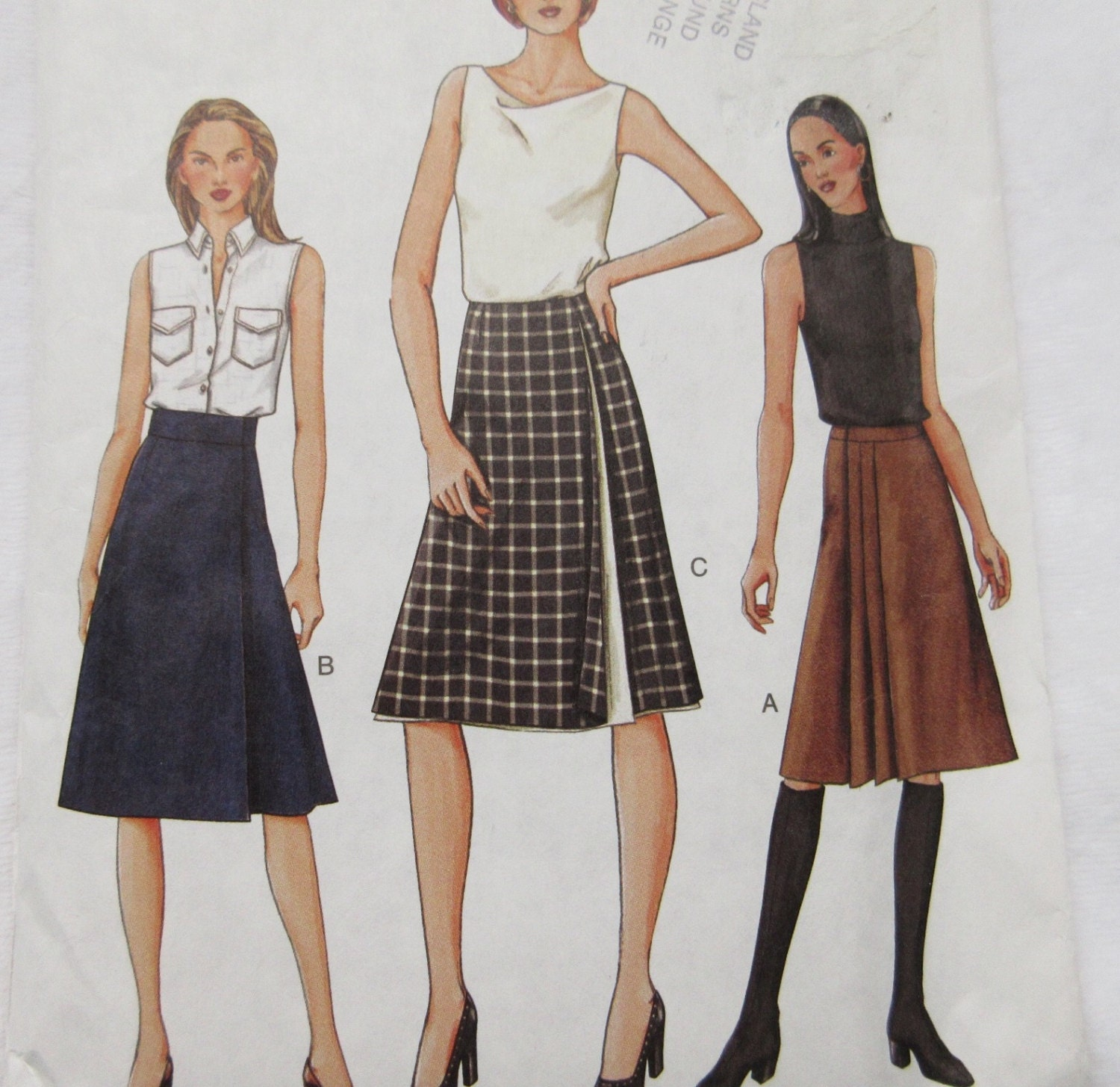 vogue sew pattern 7572 skirt a line wrap contour by buythesea
