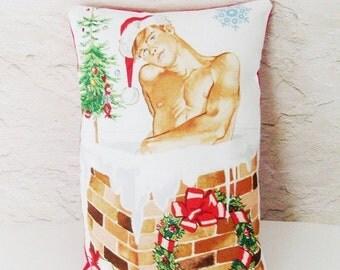 Shirtless Santa Sachet Pillow / Santa - Chimney / Lavender - Chamomile - Rosebud Filled / White - Red - Green - Brick / Gift Under 25